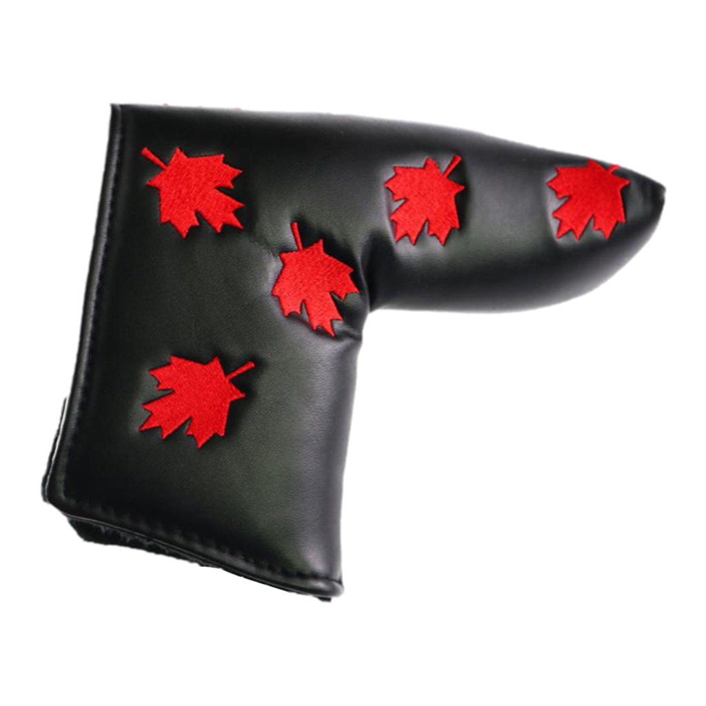 Performance PU Leather Golf Putter Club Head Cover Headcover & Thick Lining, Maple Leaf Embroidery