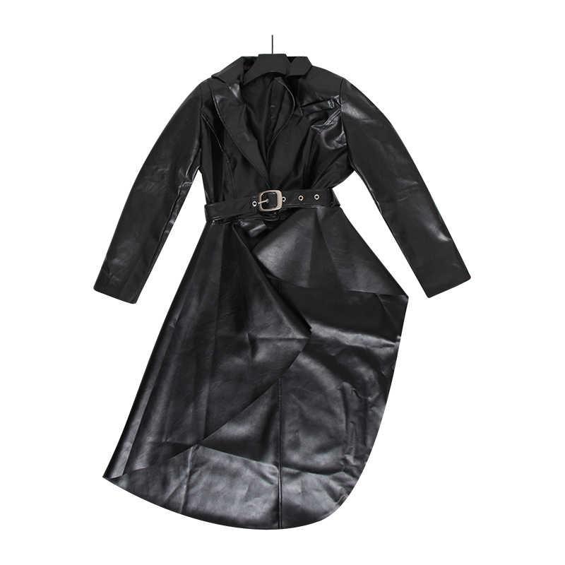 CHICEVER PU Leather Women's Windbreaker Lapel Collar Long Sleeve High Waist Sashes Large Size Asymmetrical Coat Female 2019