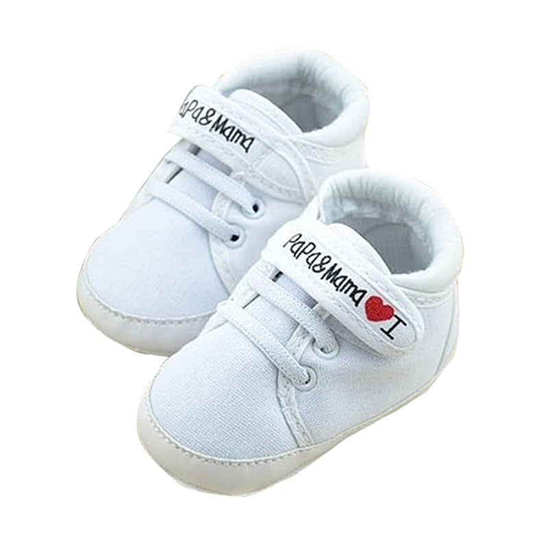 Newborn Infant Baby I Love Papa Mama Soft Sole Crip Sport Shoes Sneakers Casual 0~6 Months 11cm White