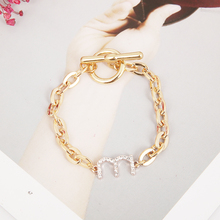Women fashion crystal W M gold sliver bracelet ladies party OL bracelets OT Back hand chain jewelry gifts