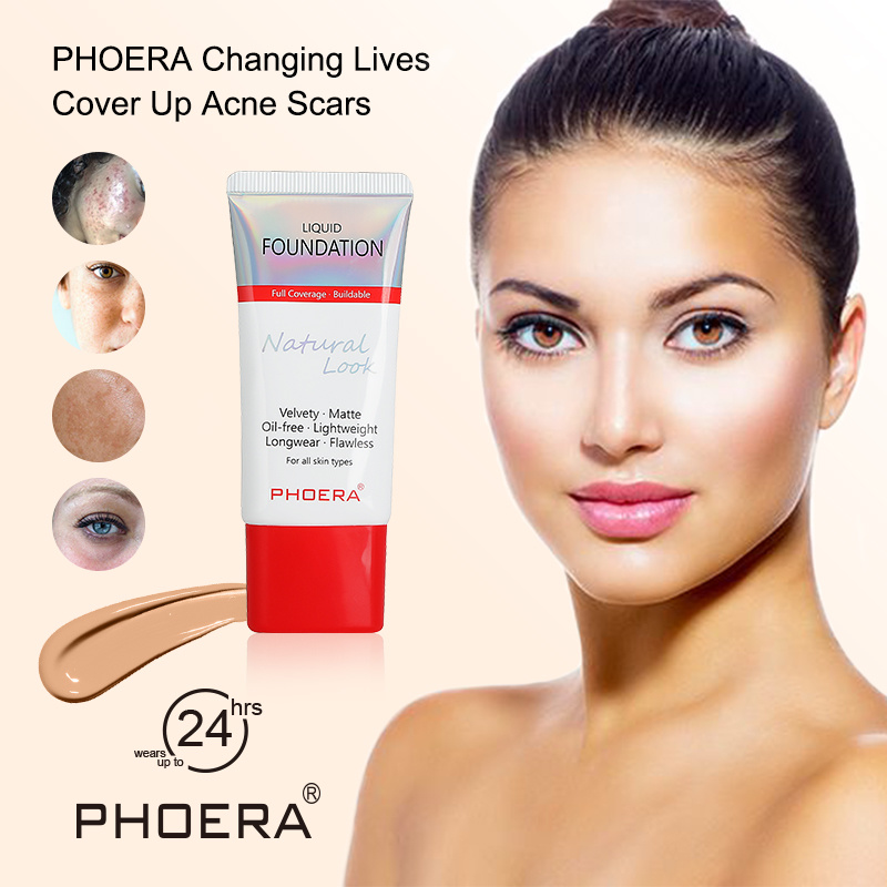 PHOERA New Matte Foundation Soft 24 Hours Long Wear Oil Control Concealer Liquid Foundation Cream Women Makup Cosmetics TSLM1
