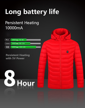 Electric Heated Vest Jackets USB Electric Heating Hooded Cotton Coat Camping Hiking Hunting Thermal Warmer Jacket Winter Outdoor 4