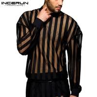 INCERUN-Camiseta a rayas para hombre, camisa de malla Sexy transparente con cuello redondo, manga larga, para fiesta y club nocturno, ropa de calle informal, 7, 2021