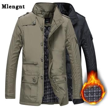 Winter Thick Padded Men Jacket Autumn Classic Windbreaker Khaki Zipper Warm Outerwear Cotton Parka Varsity Male Long Trench Coat