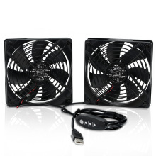 Dual 120mm DC 5V Mini USB Computer Cooling Fan with Speed Controller, for Xbox TV Box Fan Router Receiver DVR Playstation