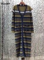 2020 Spring Fashion Wool Cardigans High Quality Women Striped Patterns Knitting Tassel Long Sleeve Casual Cardigan Sweaters Lady