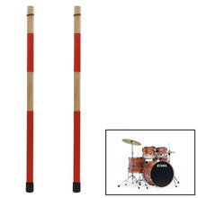 1 Pair Drum Brushes Jazz Red Drum-Sticks Percussion Set Made Of Bamboo 40CM New Y51D music jinbao musical sticks rack t 1 d stool drear drum chair percussion factory genuine