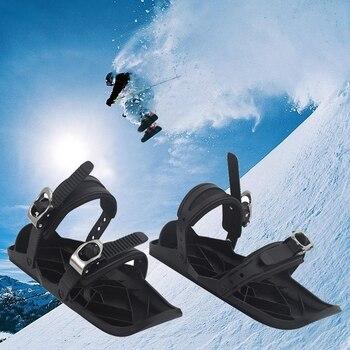 SnowSkis Ski Shoes Nylon Black One Size Winter Outdoor Wearable Mini Skis Ski Sneakers