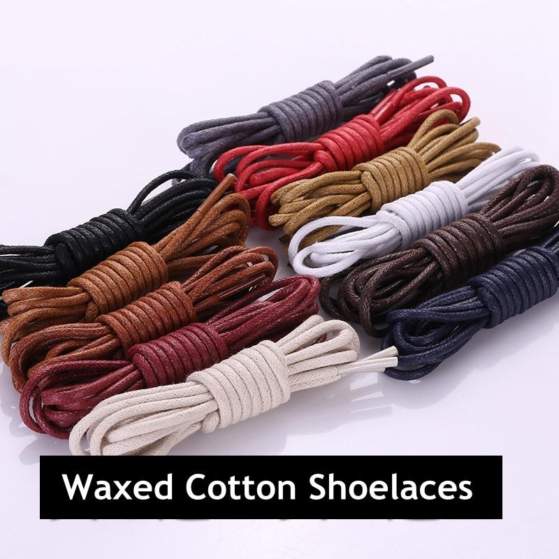 1 Pair Cotton Waxed Shoelaces Leather Waterproof Round Shoe Laces Martin Boots Shoelace Shoestring Length 80/100/120/140CM P2