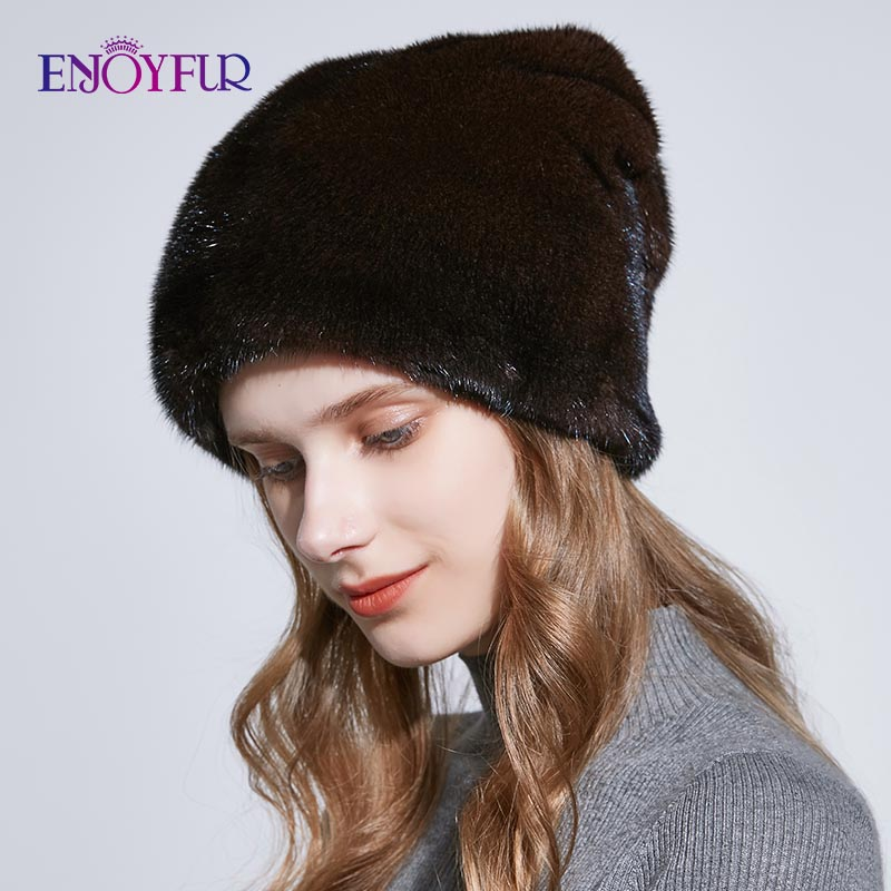 ENJOYFUR Winter Whole Mink Fur Hats For Women Deep Warm Fur Caps With Rhinestone Genuine Fur