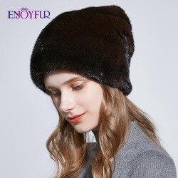 ENJOYFUR зимние полностью из норки меховые шапки для женщин глубокие теплые меховые шапки со стразами из натурального меха женская шапка