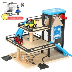 Wooden Track Diecast Parking Compatible with Brand Wooden Track Educational Toys Compatible Brand Train Track Toys For Kids Gift