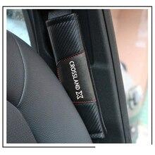 สำหรับ Opel Crossland X 2Pcs แฟชั่นหนังคาร์บอนไฟเบอร์รถยนต์รถยนต์เข็มขัดนิรภัยที่นั่งรถอุปกรณ์เสริม