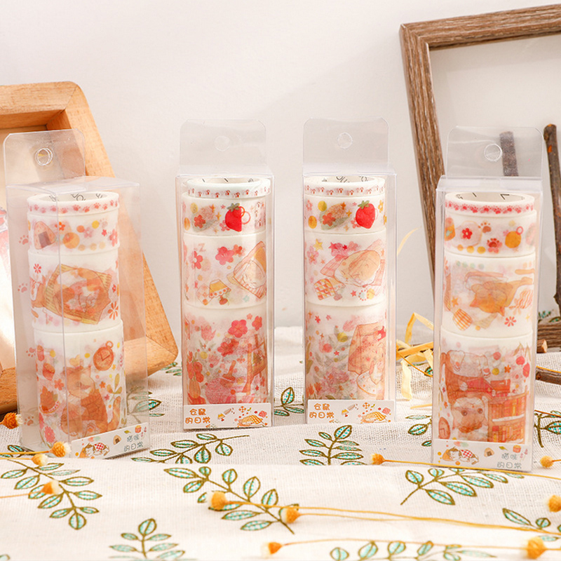 4Pcs/lot Lovely Hamster And Cat Washi Tape DIY Decoration Scrapbooking Planner Masking Tape Adhesive Tape Label Sticker