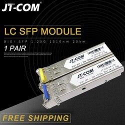 1 par 1.25G SM LC BiDi SFP Gigabit Módulo 1310nm/1550nm 3-80km Transceptor De Fibra Óptica sfp switch Compatível com Mikrotik/Cisco