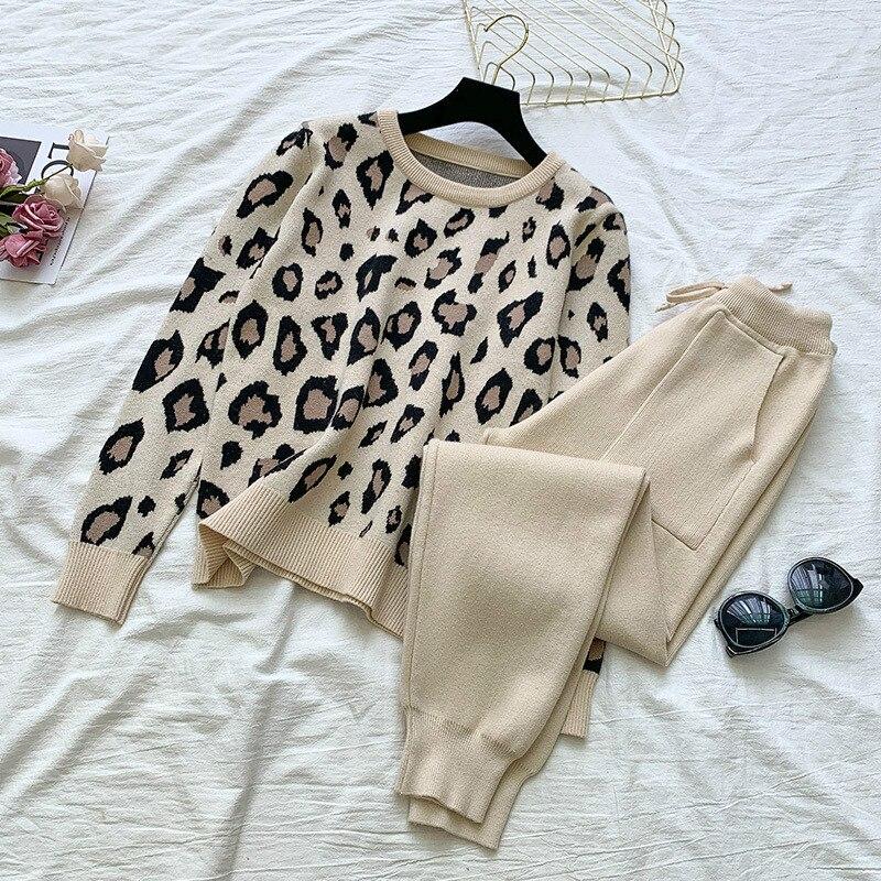 Женский трикотажный Леопардовый пуловер, свитер и штаны с эластичной резинкой на талии, модный спортивный костюм с длинным рукавом, осень ...