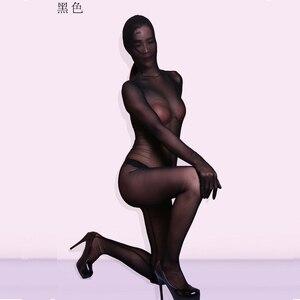 Image 2 - Siatka Plus Size przezroczyste kabaretki body One Piece rajstopy zamek krocza Bodystocking Sexy Hot erotyczne Porno bielizna pełny płaszcz