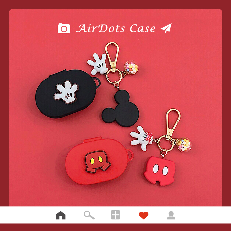Cartoon Key Ring Cute Cover For Airdots Case For Xiaomi Redmi Airdots Youth Soft Silicone Protective Shell Charging Box Keychain