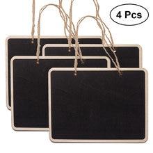 4 pçs mini quadro retangular pendurado quadro negro dupla face quadro de festa de casamento mesa número lugar tag placa de mensagem