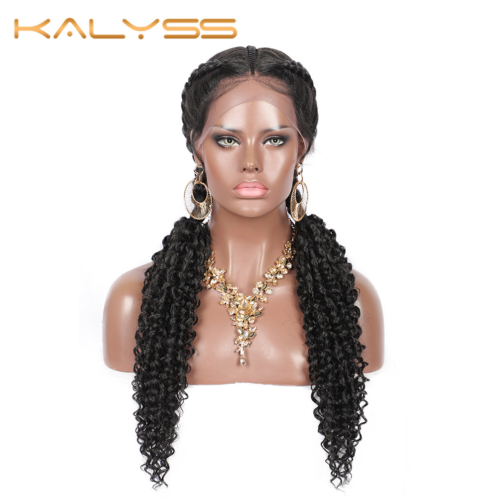 Kaylss 28'' Braid Wigs For Black Women Lace Front Cornrow Braided Twist Wigs Human Hair Kinky Curly Crochet Hair Swiss
