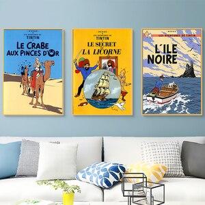 Camel Desert Tintin Adventure Comics Cartoon Retro Vintage Classic Poster Canvas Painting Art Wall Sticker Bar Home Decor Gift(China)