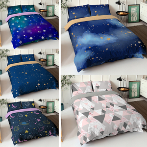 Night Sky Pattern 3D Printed Duvet Cover Sets With Pillowcase Quilt Cover Bedclothes Single Double Queen King Size