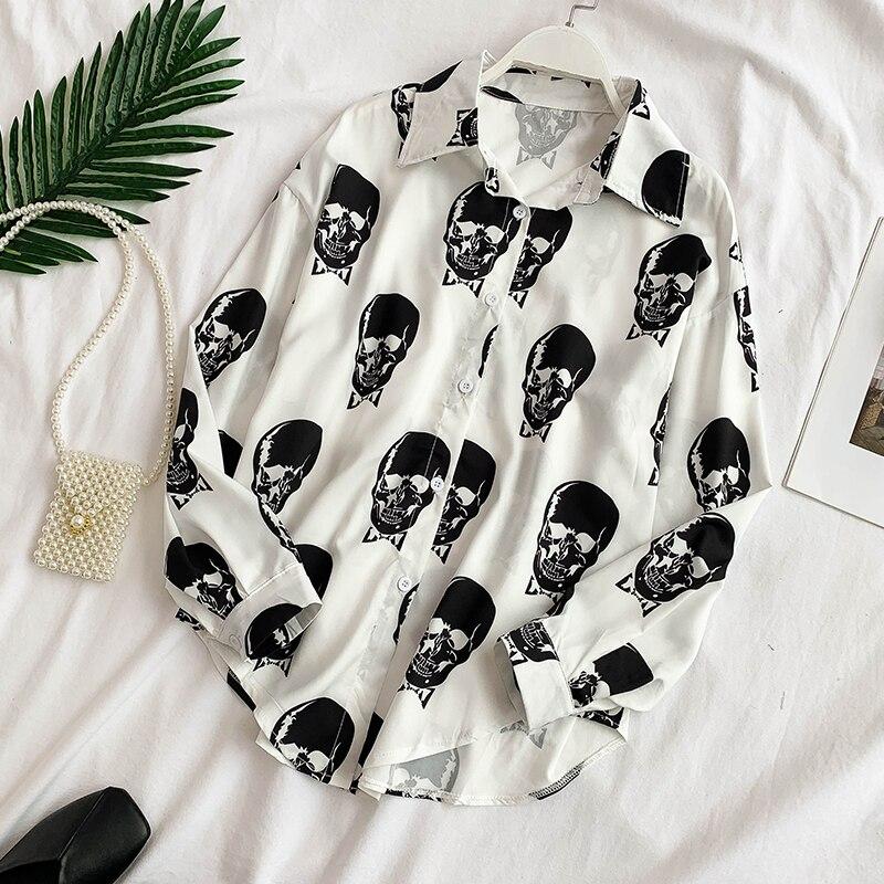 Rugod crânio impressão blusas femininas elegante gola