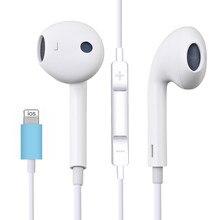 Para apple iphone 7 na orelha fone de ouvido estéreo com microfone com fio bluetooth earburds para iphone 8 7 plus x xr xs max 10 fone de ouvido