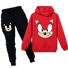 2020 nova primavera outono algodão dos desenhos animados ouriço crianças com capuz de manga comprida moletom moda esportes terno verão camiseta