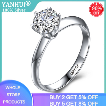 95% OFF! With Certificate Luxury Solitaire 2.0ct Zirconia Diamond Ring 925 Solid Silver 18K White Gold Wedding Rings for Women yanhui have 18k rgp logo pure solid yellow gold ring luxury round solitaire 8mm 2 0ct lab diamond wedding rings for women zsr169