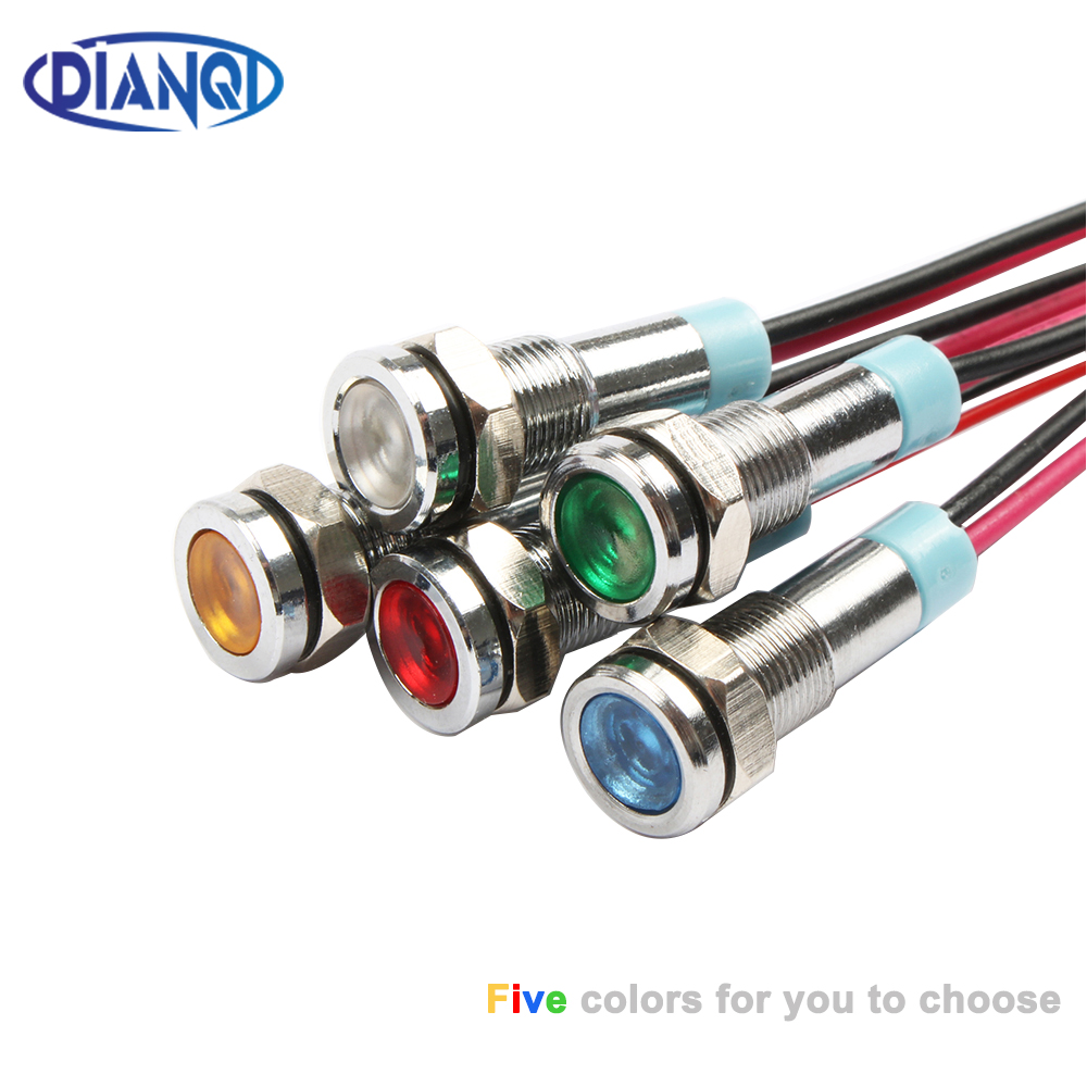 6mm LED Metal Indicator light 6mm waterproof Signal lamp 6V 12V 24V 220v with wire red yellow blue green white 6ZSD.X