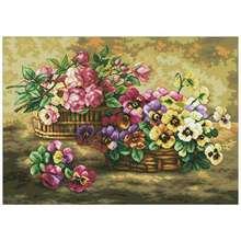 Наборы для вышивки «розы и Панси в корзине» 11ct 14ct 18ct наборы