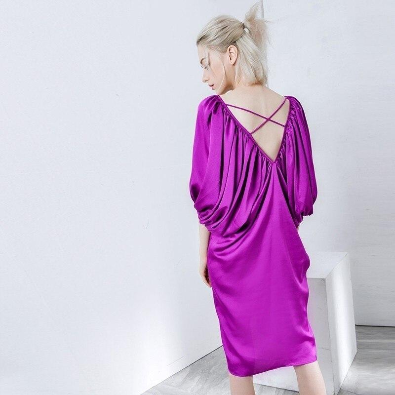 New Fashion Style Lantern Sleeve Back Cross Bandage Loose Big Size Long Dress Fashion Nova Clothing