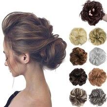 SHANGZI Синтетика шиньон с резиной лента коричневый блондинка женщины вьющиеся шиньон волосы зажим в шиньон пучок шнурок для женщин