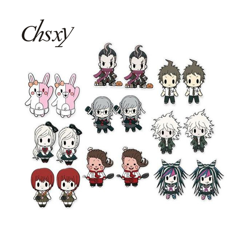 CHSXY Danganronpa V3 Game Anime Earrings Acrylic Oma Kokichi Kawaii Figures Art Picture Resin Epoxy Earrings For Fans Gifts