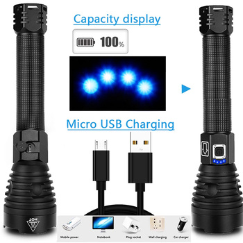EZK20 Dropshipping XHP90 LED Flashlight Zoom USB Rechargeable Power Display Powerful Torch 18650 26650 Handheld Light 3