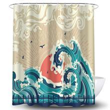 Shower-Curtain Japanese Great-Wave Landscape Vintage Kanagawa Sea Big Retro Bird Spray