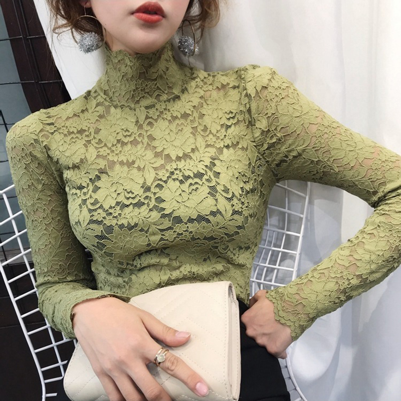 Women Spring Autumn Style Lace Blouses Shirts Lady Casual Long Sleeve Turtleneck Lace Blusas Tops DD8153