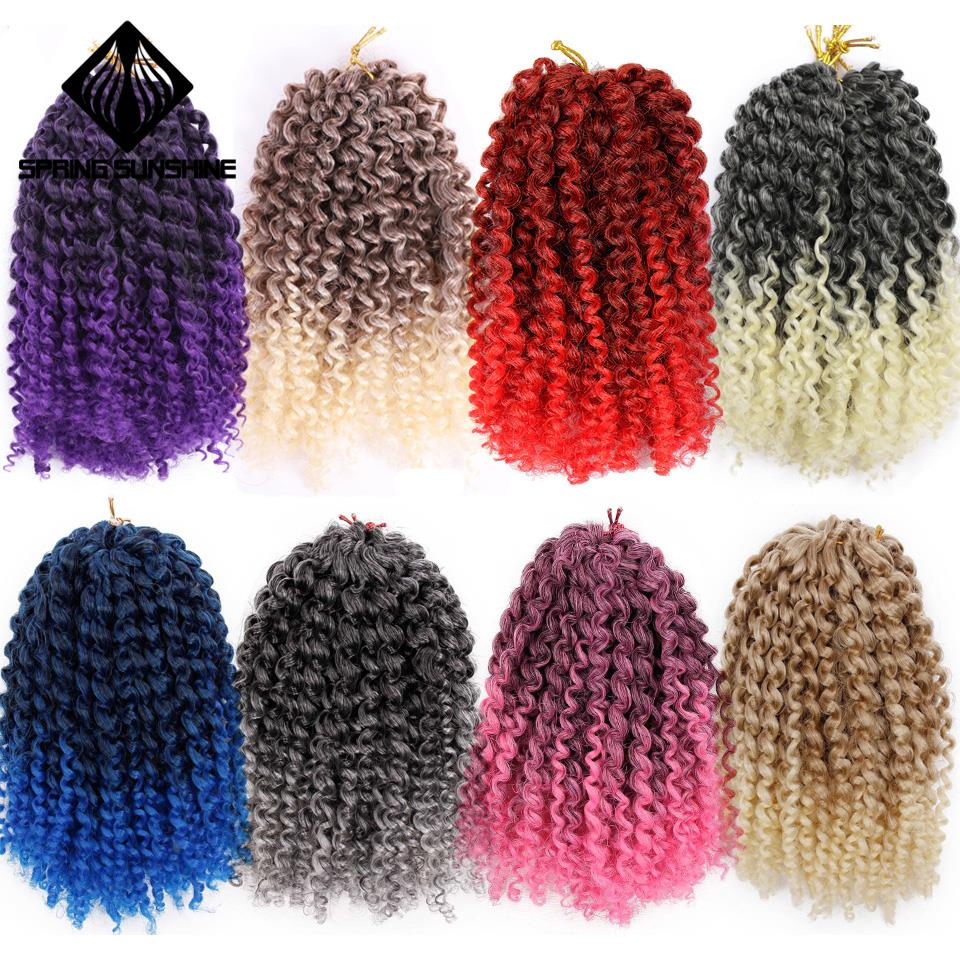 Spring Sunshine 8inch 1PC 30g Marley Braids Ombre Curl Crochet Braid Synthetic Kinky Braiding Hair Extensions For Women