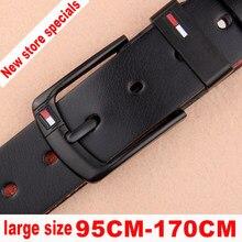Tamanho grande cinto masculino 95-125 cm couro masculino de alta qualidade preto fivela jeans cinto de couro masculino casual negócios frete grátis