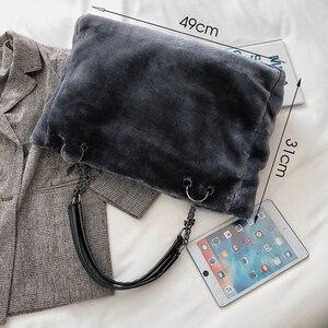 Image 4 - Faux Fur kobiety torba na ramię Casual pluszowa pani torebka na ramię moda łańcuch większa pojemność torba na zakupy torebka podróżna kobieta zima