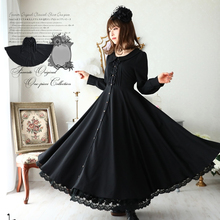 French Dress Style Slim Fit Button-up Long Sleeve Black Mexi Dress