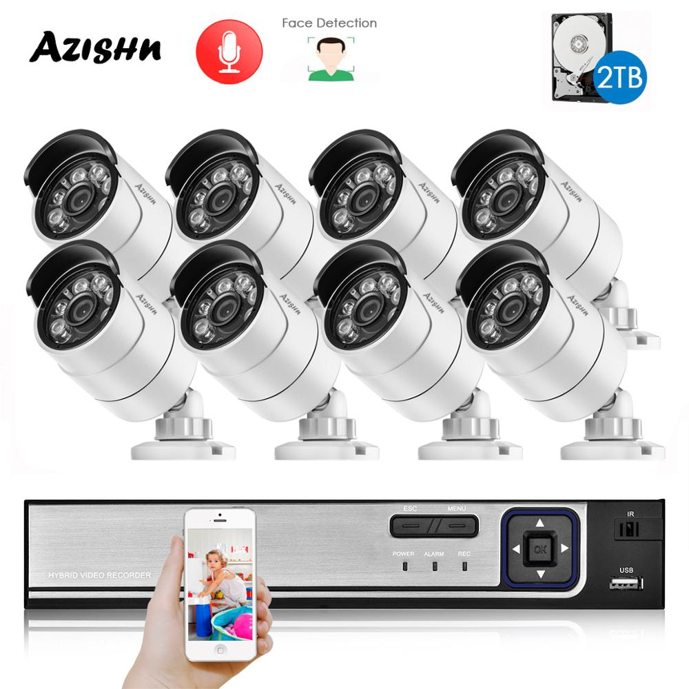 8CH HD 5.0MP H.265+ Security Camera System with 5MP 2592X1944 Outdoor/Indoor ip camera Audio Face Detect CCTV Surveillance set