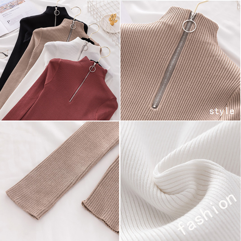 Zipper Turtleneck Sweater Womens Sweaters 2019 Winter Clothes Women Pullover Autumn Jumper Knit Sweater Women Top Woman sweaters 5