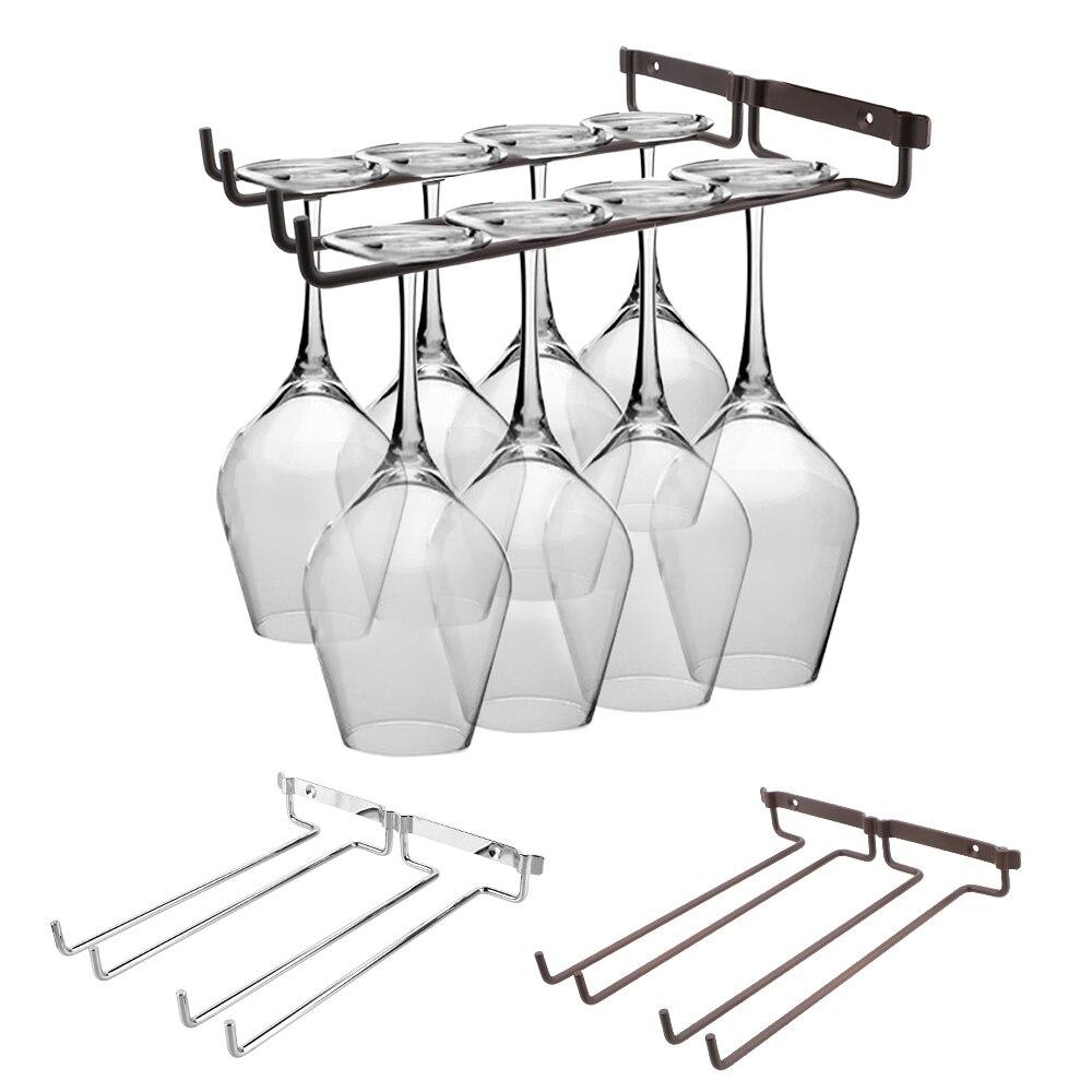NICEYARD Double Row Wine Rack Glass Holder Stemware Home Bar Pub Holder Hanging Bar Hanger Shelf Kitchen Tools