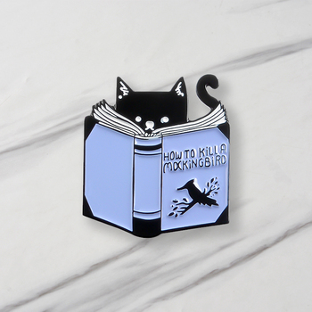 Cat Reading Enamel Brooches How To Catch Birds For Clothes Bag Cartoon Jewelry Gift For Friends image