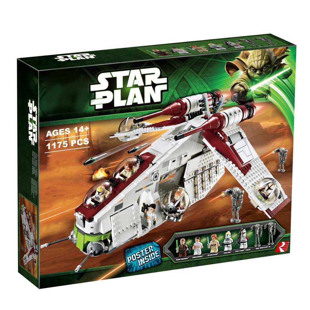 New StarWars Republic Gunship Set lepining <font><b>05041</b></font> <font><b>Star</b></font> <font><b>Wars</b></font> Building Blocks <font><b>Star</b></font> Plan <font><b>Wars</b></font> Children Toy 75021 1228 PCS image