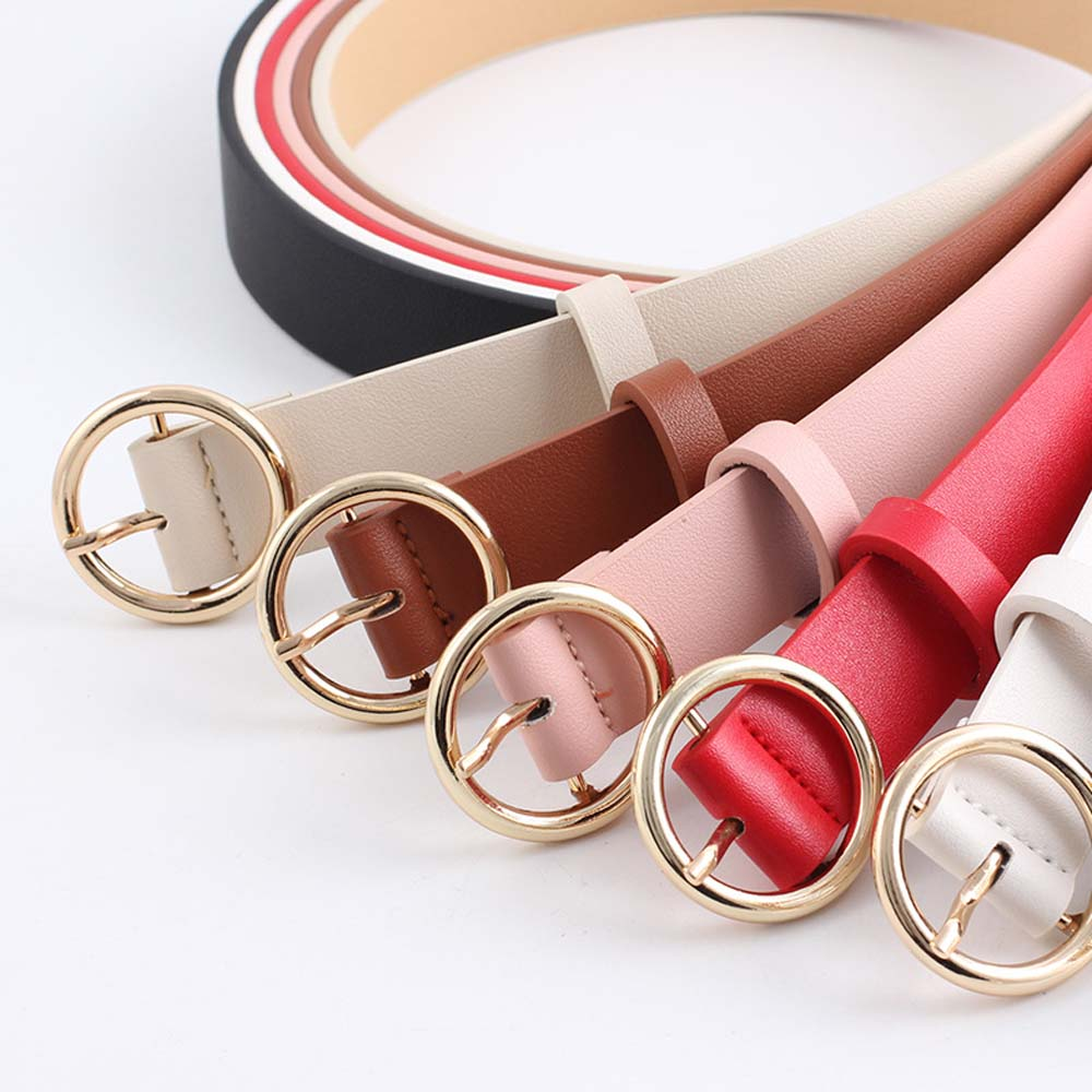 Female Gold Color Side Buckle Belt Jeans Wild Belts For Women Fashion Students Simple Style Circle Pin Buckle Belt 7 Colors