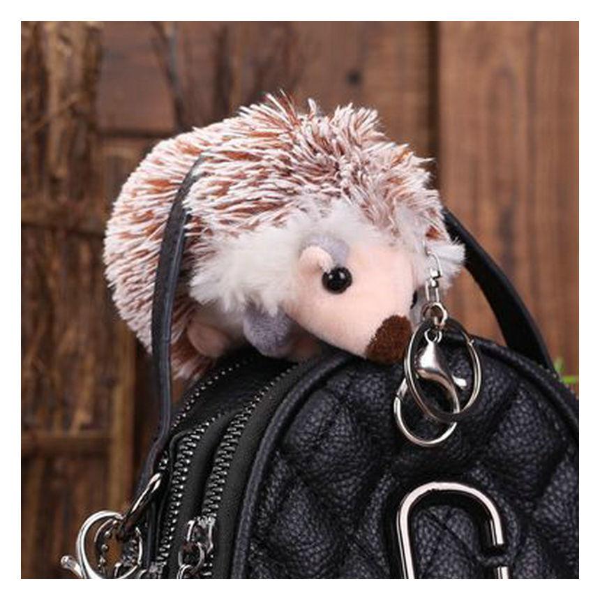 10cm Cute Hedgehog Plush Keychain Creative Cartoon Mobile Phone Bag Pendant Animal Plush Key Ring