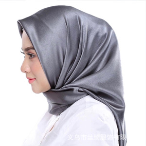 Image 3 - Мусульманский шелковый шарф 90*90 см, хиджаб, Женский мусульманский платок, чистая шаль, платок для головы, женский шарф, квадратный